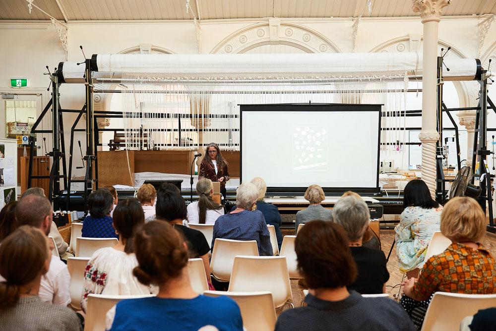 Pae White speaking at ATW, 2018. Photo: Tim O'Connor