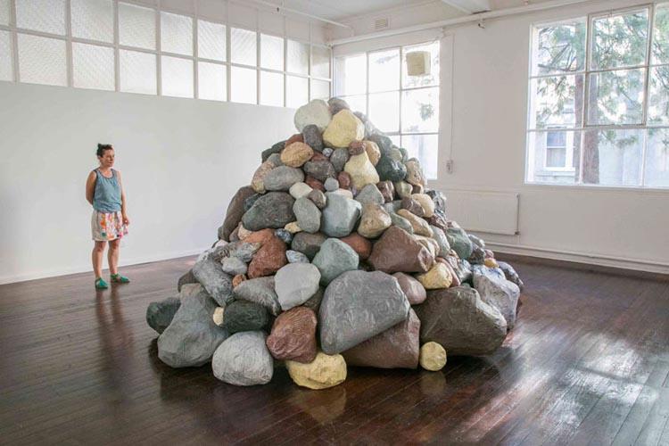 Aliça Bryson-Haynes & Lizzy Sampson, Rocky Mountain, Hand-made rocks (38 hands)