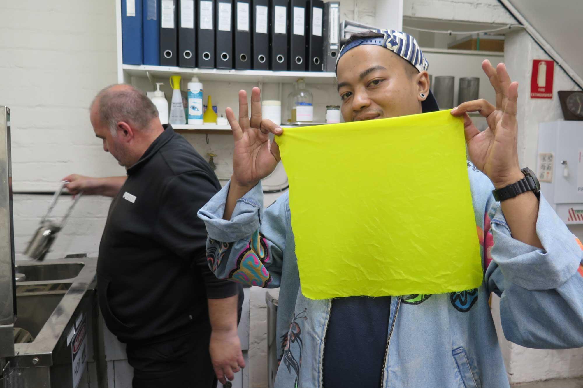 Dias Prabu working with ATW dyer Tony Stefanovski in the colour laboratory. Photo: Dewie Bukit.