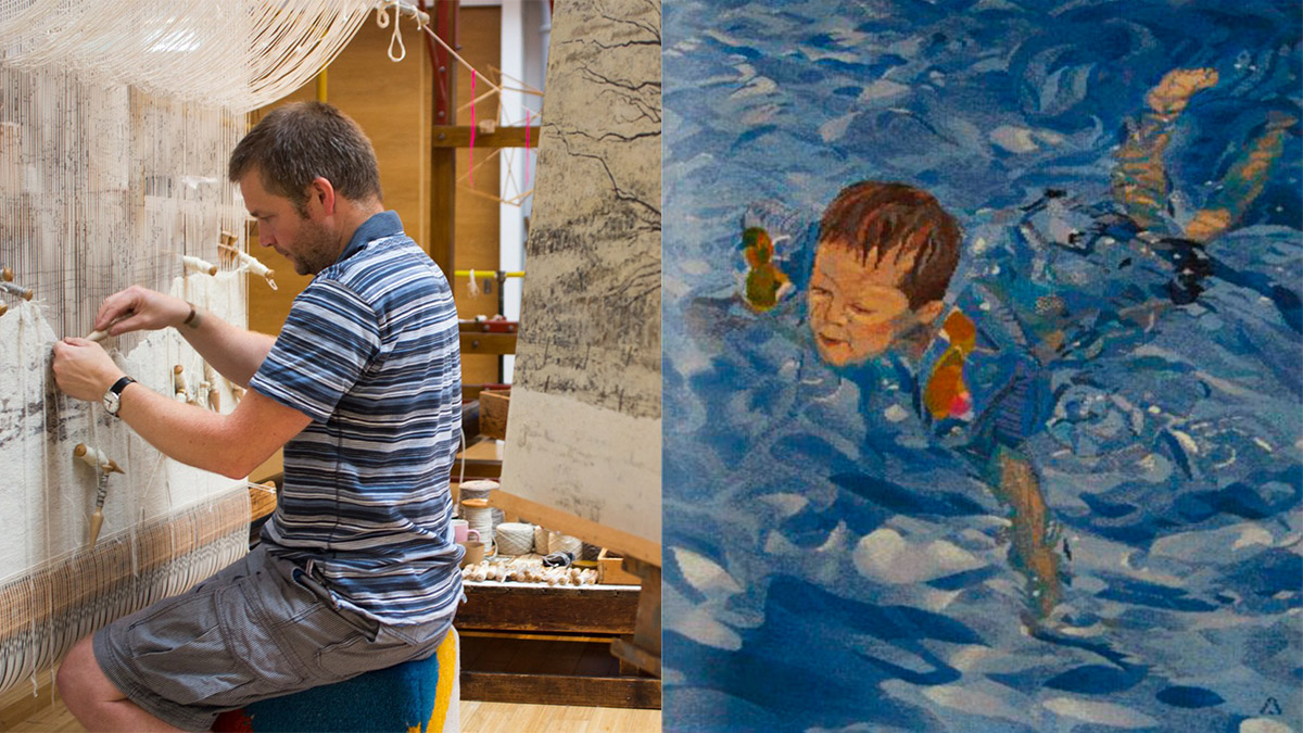 Left: David Cochrane working on The Large Tree Group Tapestry at Dovecot Studios. Courtesy of Dovecot Studios. 'Waterbaby' woven by David Cochrane. Courtesy of the artist.