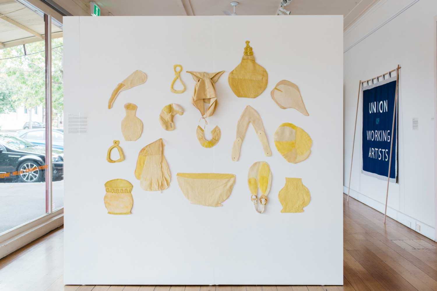'AIR19' in situ at ATW. Left to Right: Artworks by Kate James and Nina Ross and Stephen Palmer