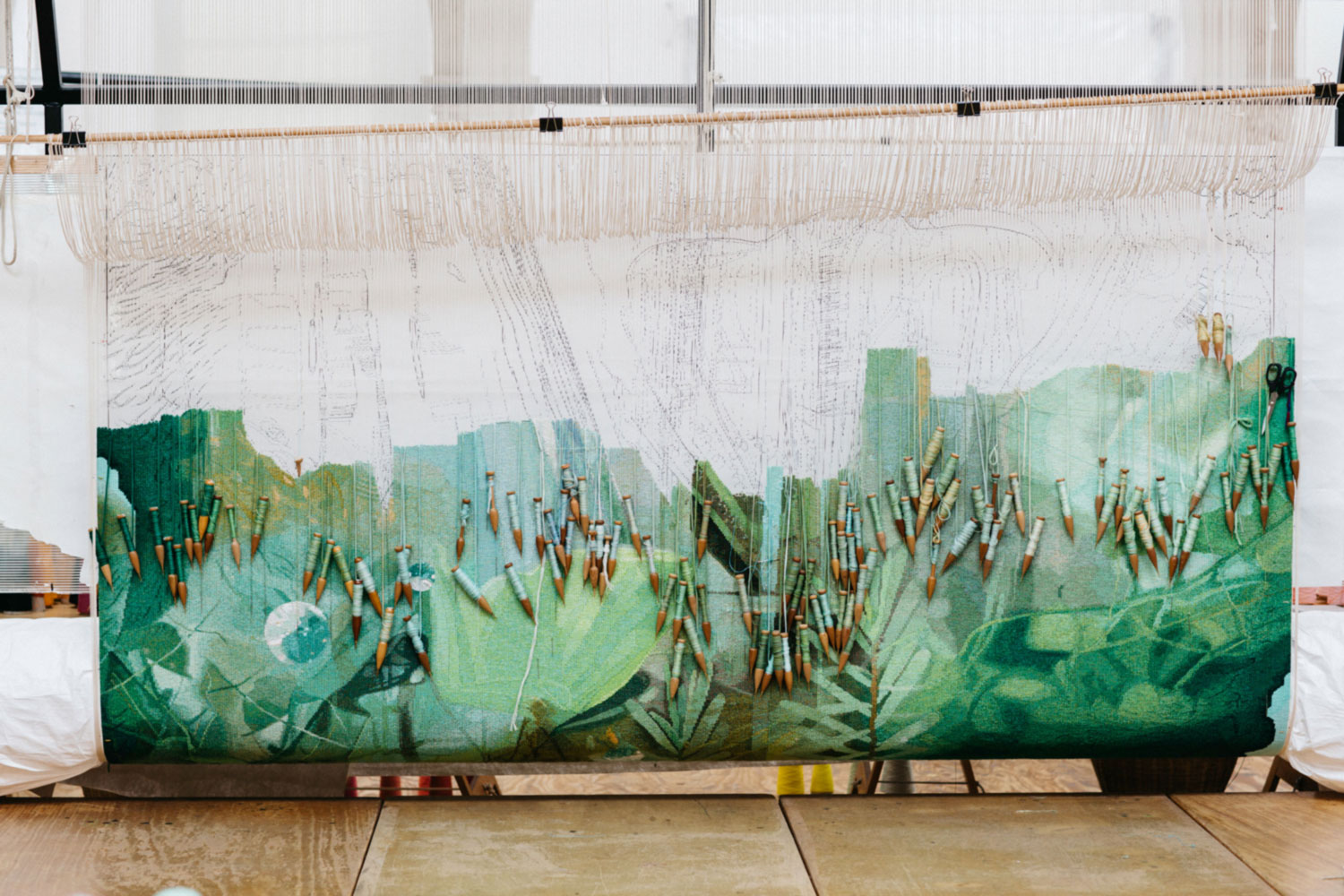 Tapestry in progress: 'Hear the Plant Song' 2020, Janet Laurence, woven by Chris Cochius, Amy Cornall, Cheryl Thornton, Sue Batten, wool, cotton, 1.56 x 2.7m. Photo: Marie-Luise Skibbe.