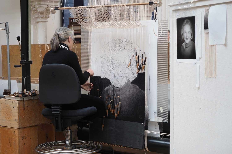 ATW weaver Pamela Joyce working on a portrait of The Honourable Margaret Lusink AM, 2019. Photograph: Peter Ittak.