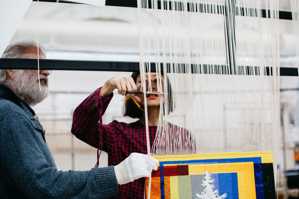 Eugenia Lim at the 'Weaving Futures' Cutting Off Ceremony at the ATW, 2021. Photograph courtesy of Marie-Luise Skibbe.