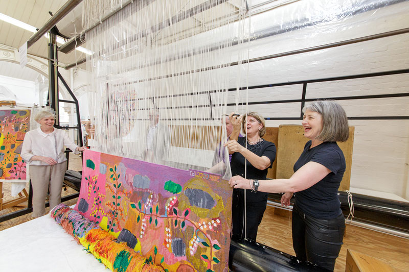 Cutting Off Ceremony for 'Bush Foods,' 2015, designed by Sheena Wilfred and woven by Chris Cochius, Pamela Joyce & Cheryl Thornton, wool and cotton, 1.84 x 2.15m. Photograph: Jeremy Weihrauch.