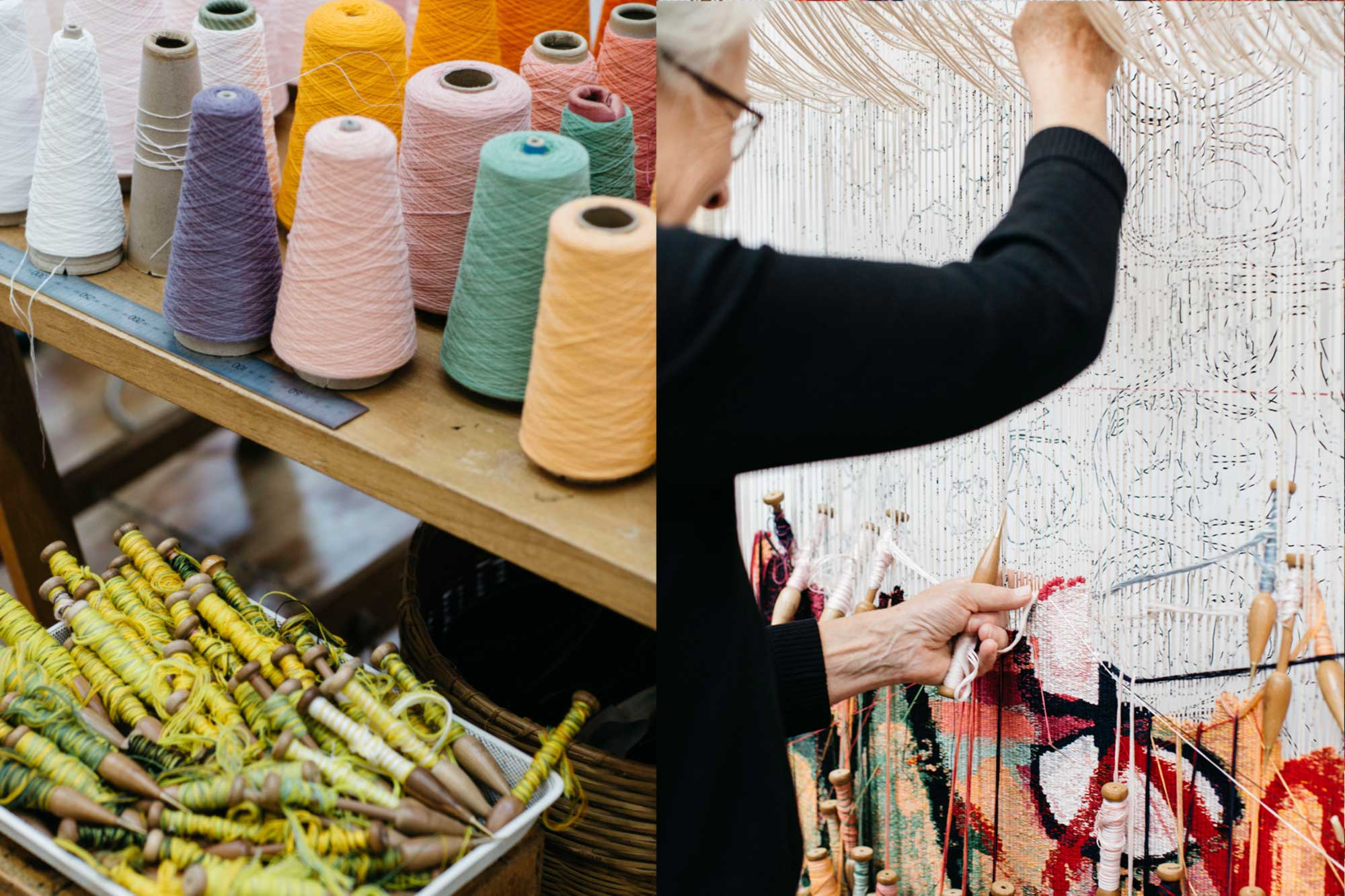 Left to right: Tapestry bobbins and yarn; Pamela Joyce weaves 'The Royal Harvest' tapestry. Photo: Marie-Luise Skibbe.