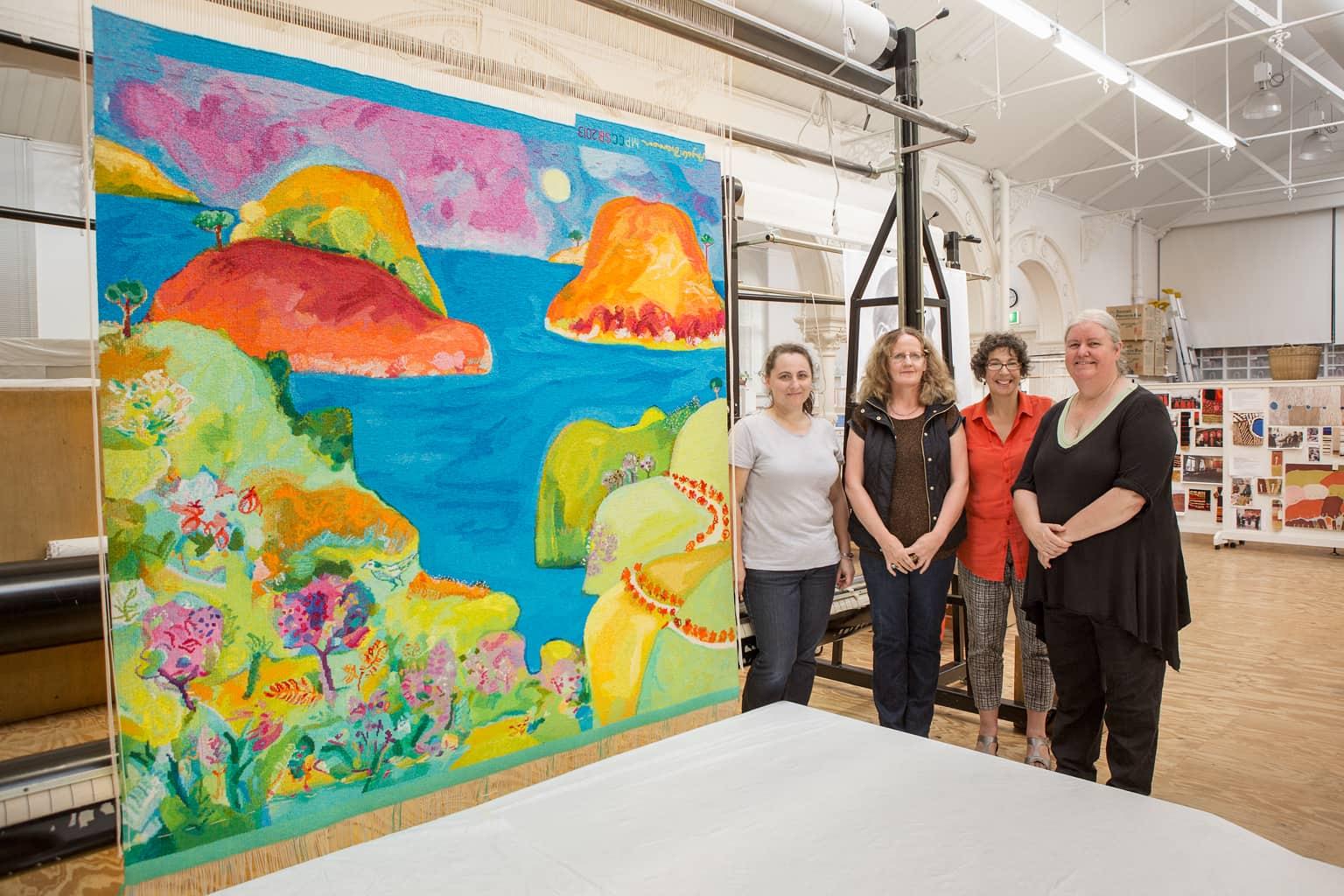 Milena Paplinska, Angela Brennan, Sue Batten & Chris Cochius with 'Point Addis' designed by Angela Brennan in 2013. Photograph: Jeremy Weihrauch.