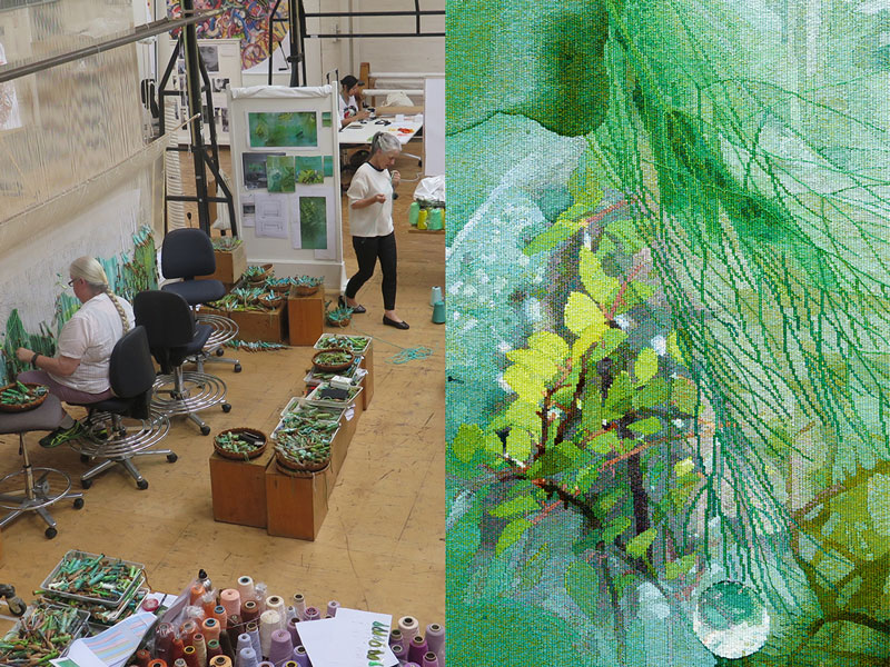 Left: ATW weavers working on 'Listen, to the Sound of Plants,' designed by Janet Laurence in 2017. Photo: ATW. Right: Detail of 'Listen, to the Sound of Plants,' designed by Janet Laurence in 2017. Photo: Jeremy Weihrauch.