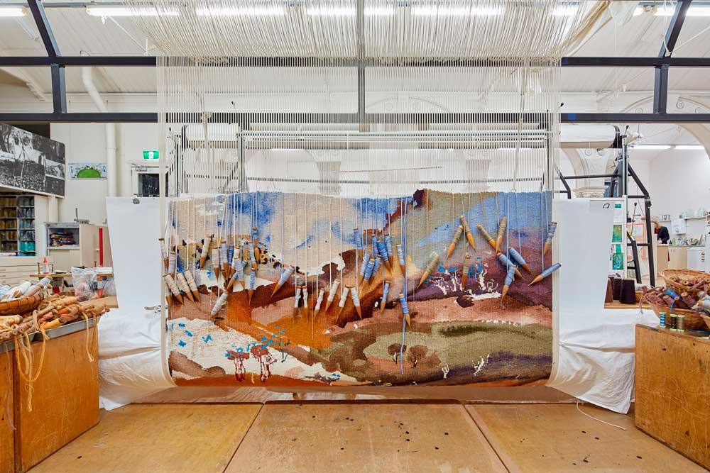 'Bridle Track, Hill End', 2019, designed by Luke Sciberras, woven by Chris Cochius, Sue Batten, Amy Cornall, Karlie Hawking & Pamela Joyce, wool, cotton, 1.6 x 1.6m. Photo by Jeremy Weihrauch.