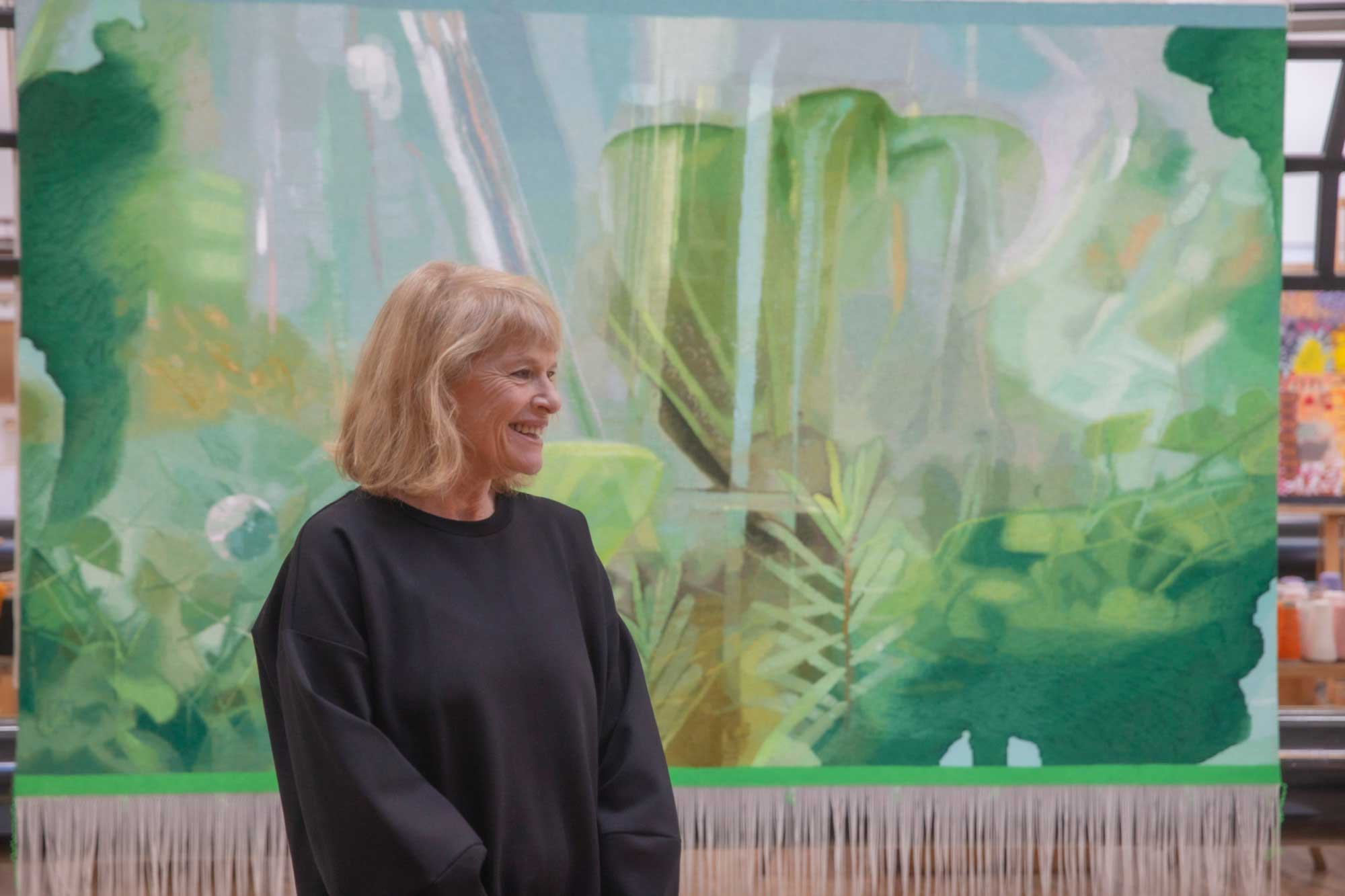 Janet Laurence in front of 'Heart the Plant Song' at the ATW. Photo: John Gollings AM.