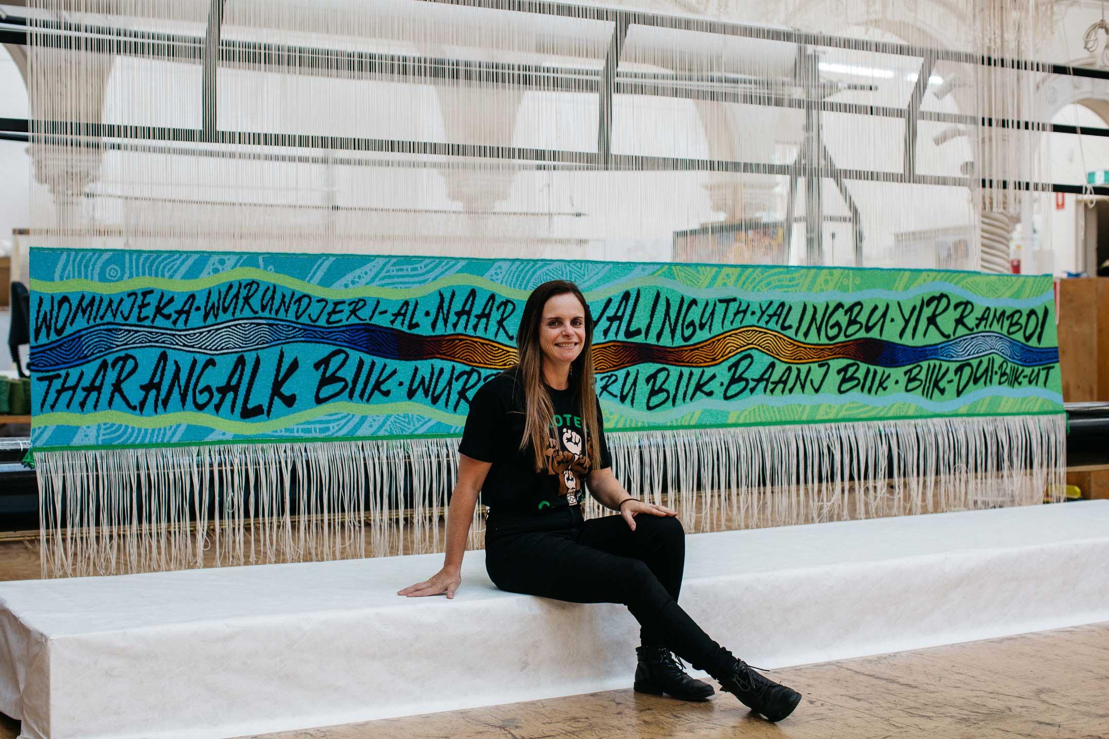 Mandy Nicholson with 'Wurundjeri Biik, yalinguth, yalingbu, yirramboi', 2020. Photo: Marie-Luise Skibbe.