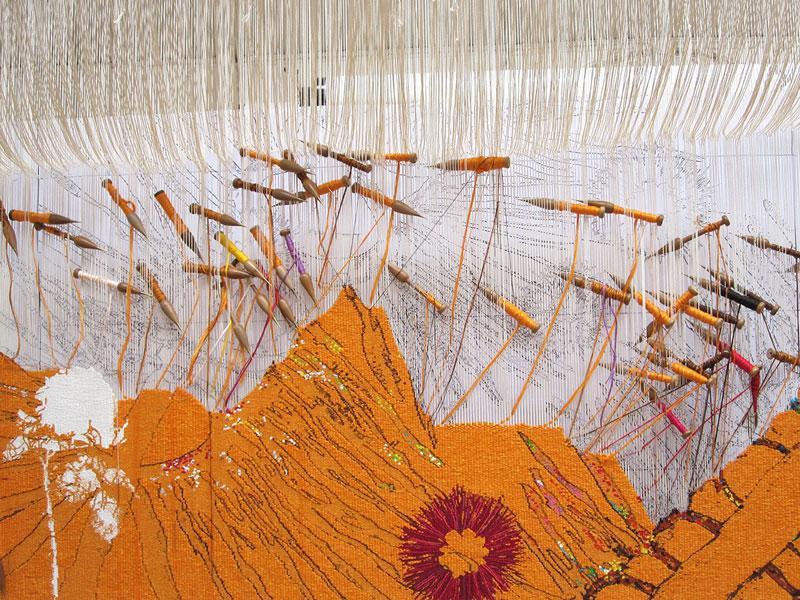 'Diamond Jubilee Project' 2013, designed by Nusra Latif Qureshi, woven by Sue Batten & Chris Cochius, wool and cotton, 1.00 x 1.50m. Photograph: ATW.