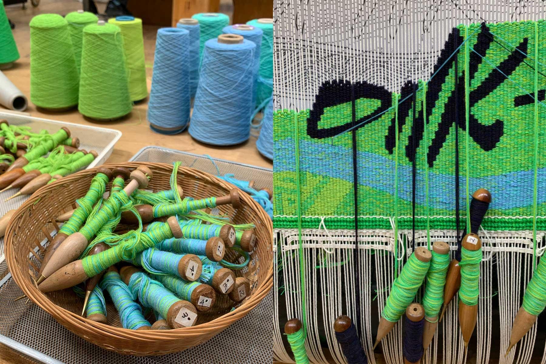 Left to right, bobbins and tapestry in progress: 'Wurundjeri Biik, yalinguth, yalingbu, yirramboi' 2020, Mandy Nicholson, woven by Chris Cochius, Amy Cornall, Cheryl Thornton, 0.58 x 4.32 m, wool, cotton. Photos: ATW.