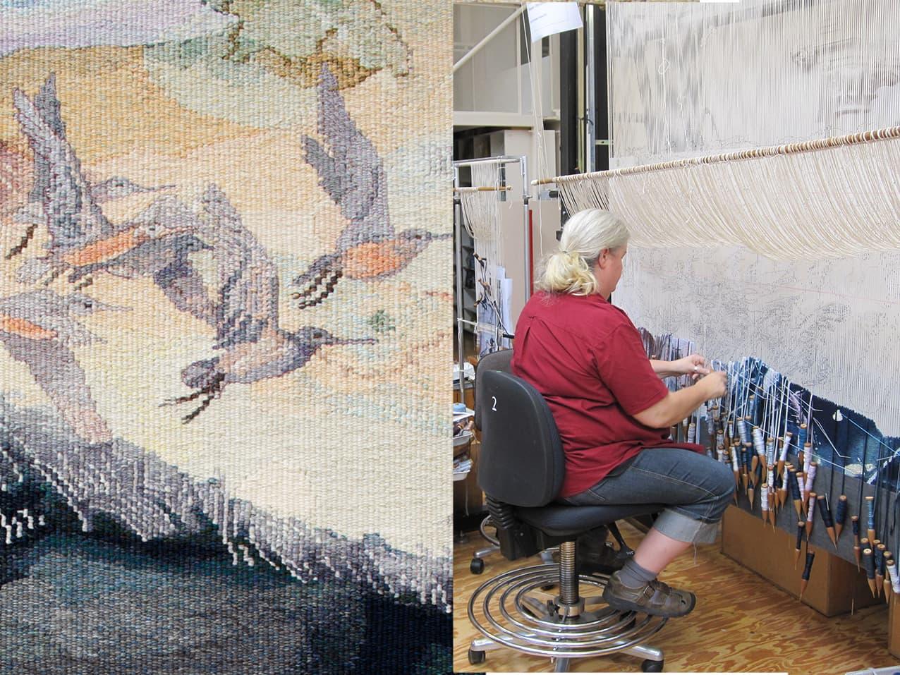 Progress shots of 'Concerning the wading birds of the Warrnambool wetlands' 2012, designed by John Wolseley, woven by Chris Cochius, Pamela Joyce & Milena Paplinska, wool and cotton, 1.80 x 1.90m. Photographs: ATW.