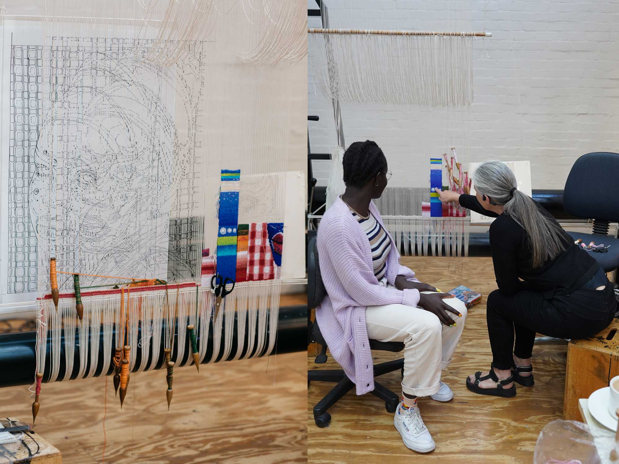 Left: In progress: 'Self Portrait in July (4)', 2021, designed by Atong Atem, woven by Pamela Joyce. Image by Marie-Luise Skibbe. Right: Atong Atem and Pamela Joyce at the ATW, 2021. Image by ATW.