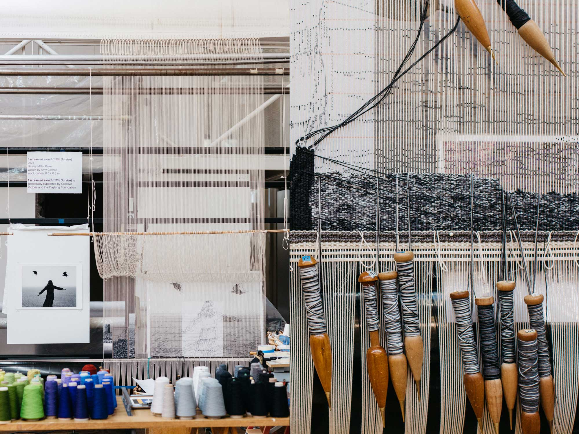 Tapestry in Progress: 'I screamed aloud (I Will Survive)', 2021, designed by Hayley Millar Baker, woven by Amy Cornall. Images courtesy of Marie-Luise Skibbe.