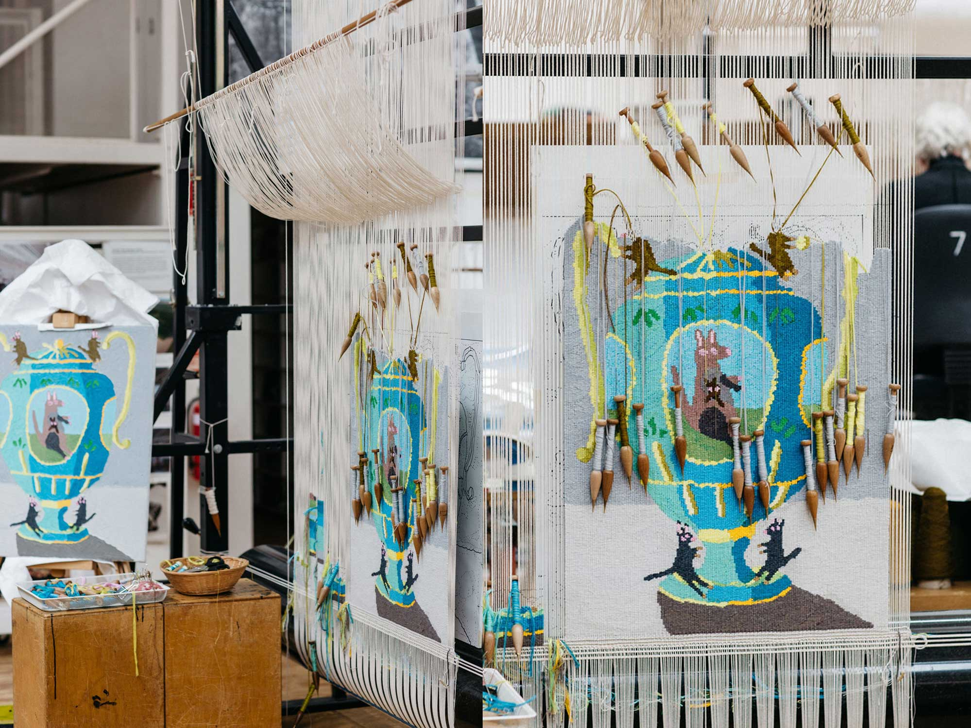 Tapestry in progress: 'big kangaroo urn', 2021, designed by Troy Emery, woven by Emma Sulzer. Images courtesy of Marie- Luise Skibbe.