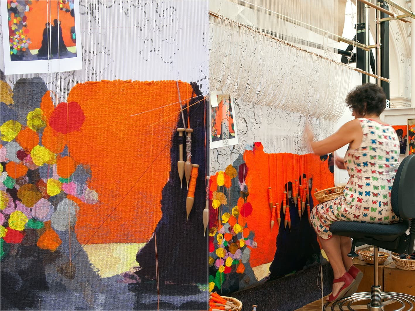 Left: Detail of 'Rome' designed by Brent Harris in 2012 and woven by Sue Batten. Right: ATW weaver Sue Batten working on 'Rome' designed by Brent Harris in 2012. Photographs: Viki Petherbridge.
