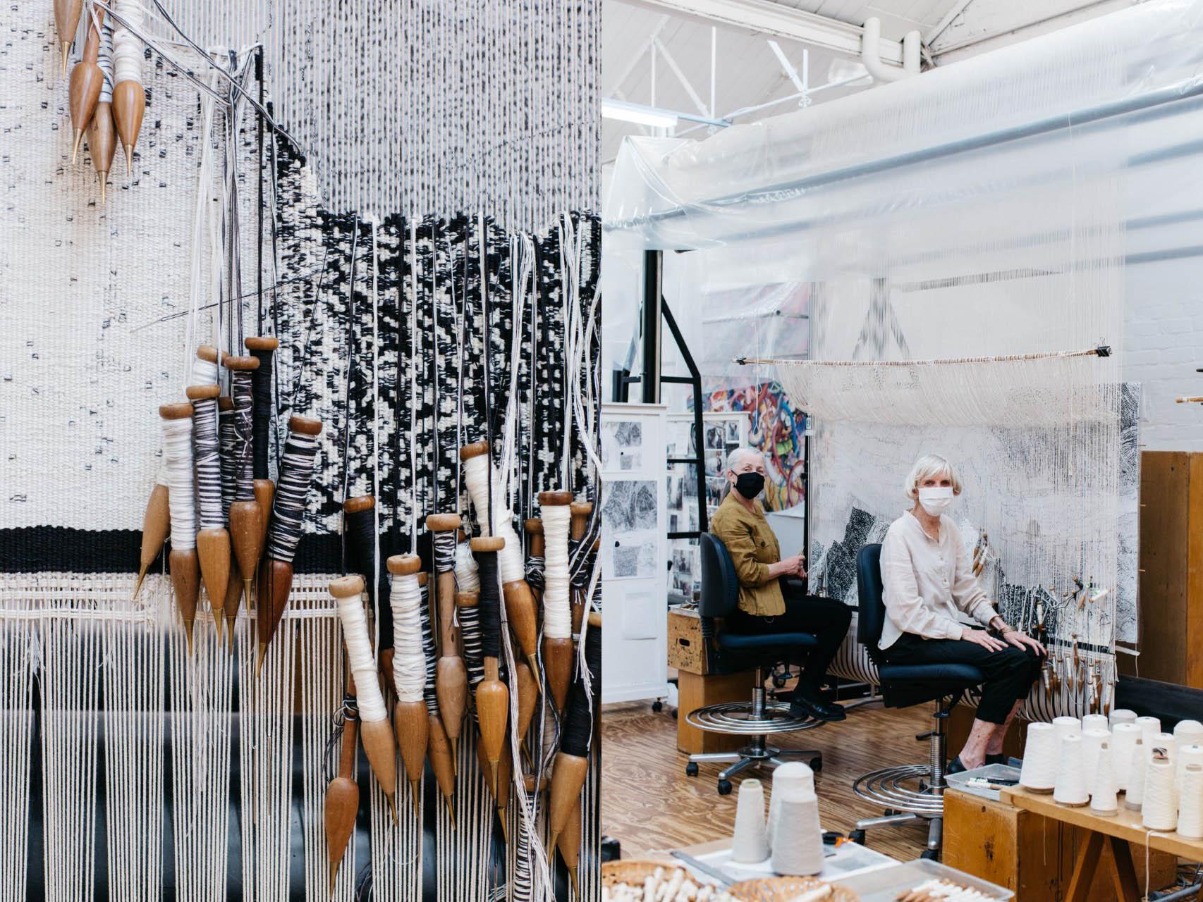 Left to right: Close up detail shot of 'Ilpili', designed by Pepai Jangala Carroll in 2021; ATW weavers Pamela Joyce & Cheryl Thornton working on 'Ilpili', designed by Pepai Jangala Carroll in 2021. Photos: Marie-Luise Skibbe.