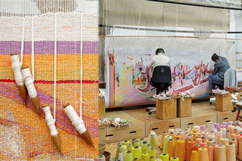 Progress shots of 'Sorry', 2013, designed by Juan Davila, woven by Sue Batten, Pamela Joyce, Milena Paplinska & Cheryl Thornton, wool and cotton, 4.20 x 3.26m. Photographs: Jeremy Weihrauch.