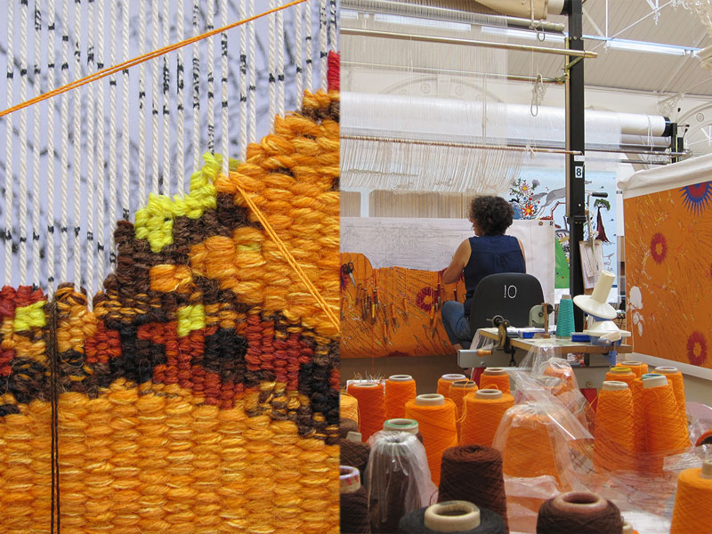Progress shots of 'Diamond Jubilee Project' 2013, designed by Nusra Latif Qureshi, woven by Sue Batten & Chris Cochius, wool and cotton, 1.00 x 1.50m. Photographs: ATW.