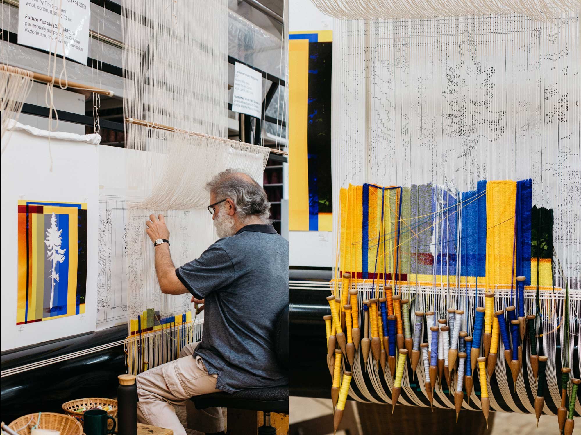 Tapestry in progress: 'Fossil Futures (Old Tjikko)', 2021, designed by Eugenia Lim, woven by Tim Gresham. Images courtesy of Marie-Luise Skibbe.