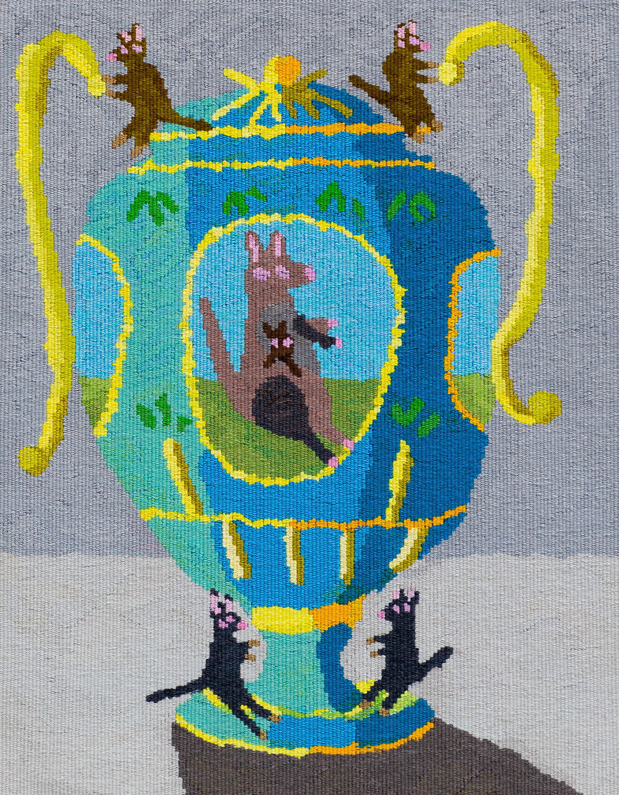 'big kangaroo urn', 2021, designed by Troy Emery, woven by Emma Sulzer, wool and cotton. Photograph courtesy of Marie-Luise Skibbe.
