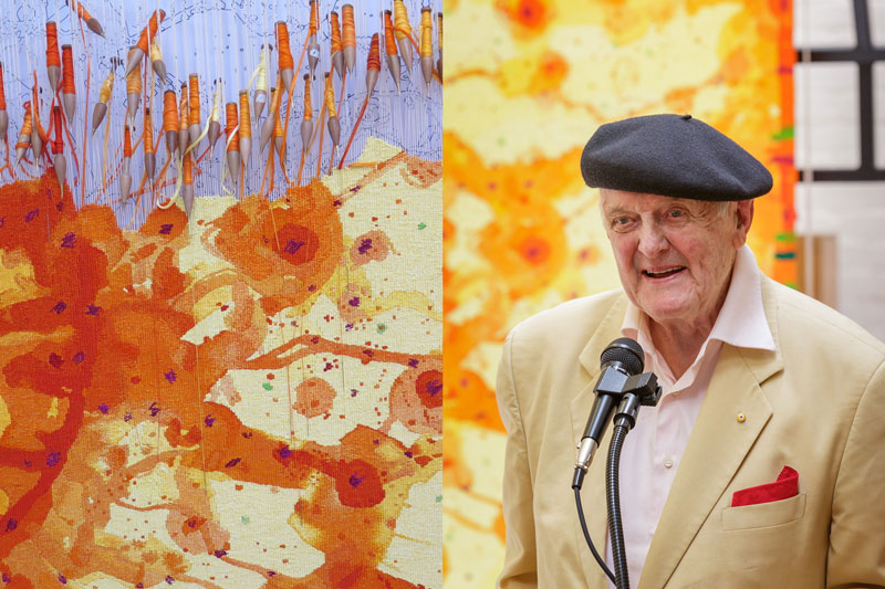 Left: Detail of 'Sun over the You Beaut Country,' designed by John Olsen AO OBE in 2014. Photograph: ATW. Right: John Olsen AO OBE at the Cutting Off Ceremony for 'Sun over the You Beaut Country,' 2015. Photograph: Jeremy Weihrauch.