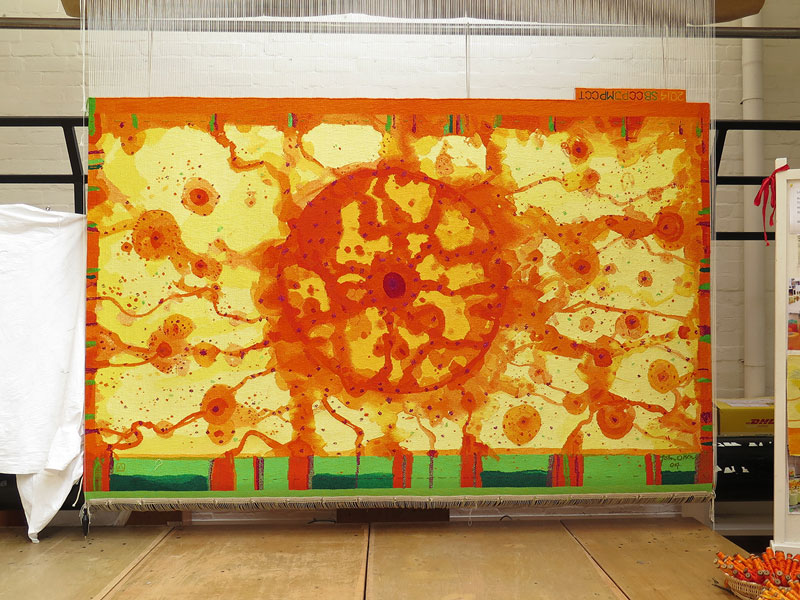'Sun over the You Beaut Country,' 2014, designed by John Olsen AO OBE, woven by Sue Batten, Chris Cochius, Pamela Joyce, Milena Paplinska & Cheryl Thornton, wool and cotton, 2.80 x 1.60m. Photograph: ATW.