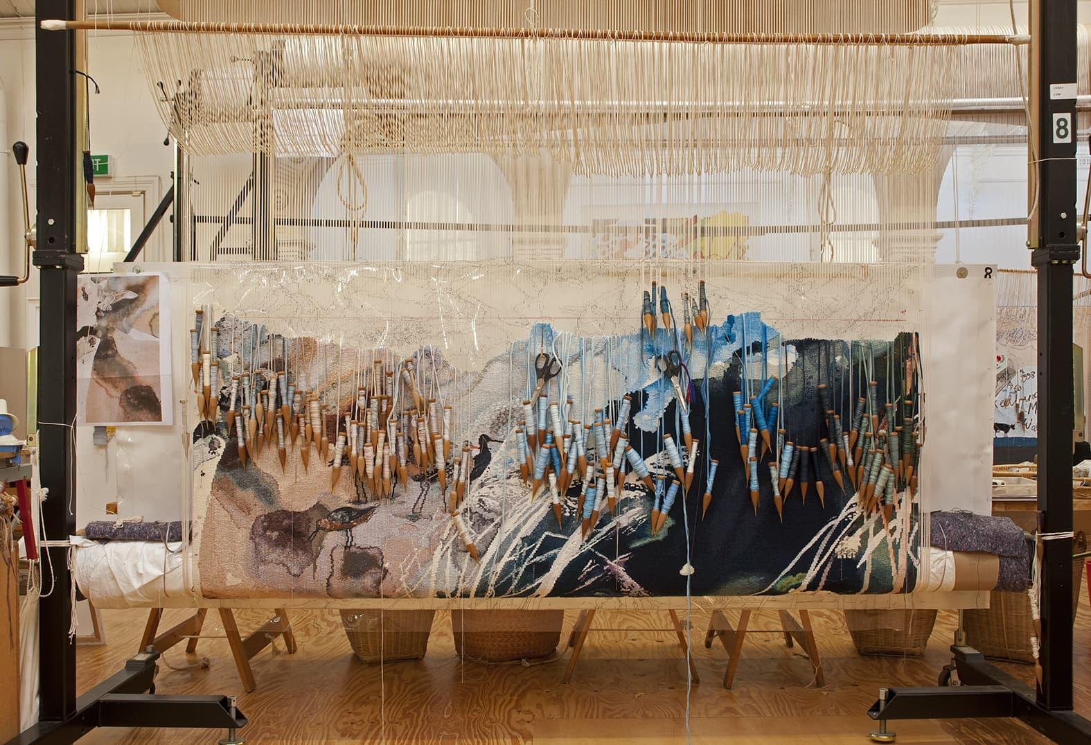'Concerning the wading birds of the Warrnambool wetlands' 2012, designed by John Wolseley, woven by Chris Cochius, Pamela Joyce & Milena Paplinska, wool and cotton, 1.80 x 1.90m. Photograph: Viki Petherbridge.