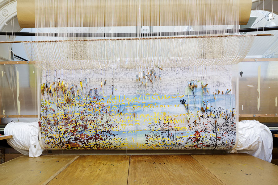 'Avenue of Remembrance,' 2015, designed by Imants Tillers and woven by Chris Cochius, Sue Batten, Leonie Bessant, Pamela Joyce, Milena Paplinska, Laura Russell & Cheryl Thornton, wool and cotton, 3.27 x 2.83m. Photograph: Jeremy Weihrauch.