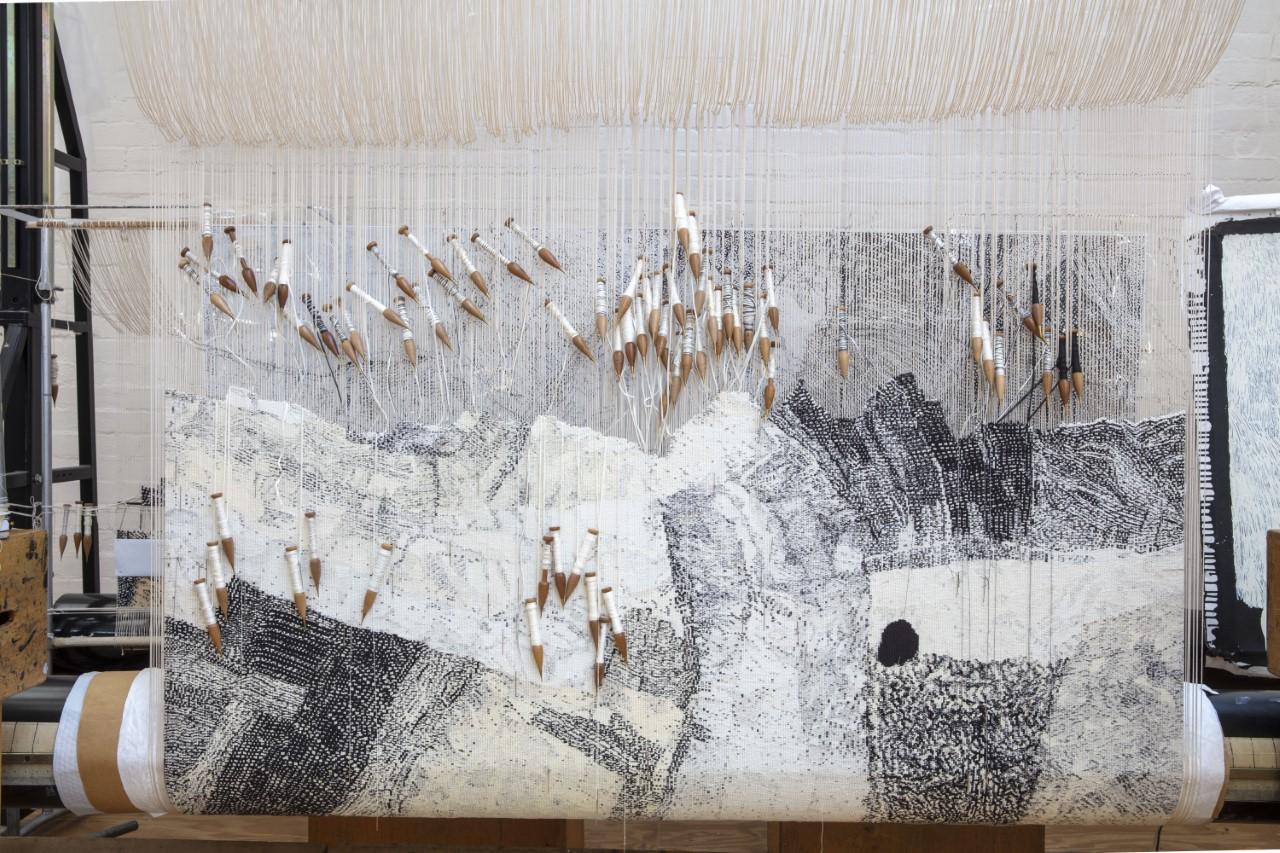 In progress: 'Ilpili', 2021, designed by Pepai Jangala Carroll, woven by Pamela Joyce, Chris Cochius & Cheryl Thornton, 1.2 x 1.9 m, wool and cotton. Photo: John Gollings AM.