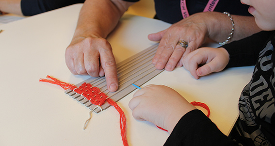 A patient from the Royal Children's Hospital with their Weaving into Wellbeing activity.